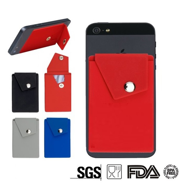 CPA004 Adhesive Silicone Phone Wallet w/ Snap Closure